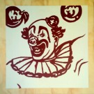 """Clown"" by Emily Fromm – 16"" x 16"" Acrylic on Wood"