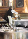 """Serving at Cafe de la Presse lV"" by Thalia Stratton - Oil, $2750"