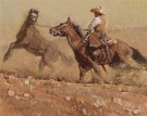 """Caught Him Up to Ride"" by Jeff Segler - 12""x16"" Oil on Linen, $3800"