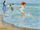 """Children Playing at Seashore"" by Alice B. Chittenden"