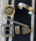 """Hammered Sterling Alamar Knot Bracelet, Cowboy Hat Scarf Slide, Sterling Ball Point Pen, Fully Engraved with Pheasant, Three Piece Buckle Set with 14K Embossed Rope Edge Overlay"" by Bill Reynolds"