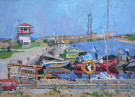 """In the Fishing Harbor"" by Anastasia Dukhanina - Oil, $2000"
