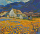 """Farmhouse in Poppy Fields, Carmel Valley"" by Mary DeNeale Morgan"