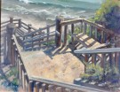 """Stairwell To The Beach"" by Rita Pacheco - Oil, $2600"