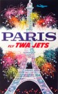 """Paris Fly TWA Jets"" by David Klein c. 1965 Measures 40 x 25  $1,800"
