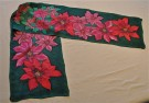 """Poinsettia"" by Deb Lysek - 11""x60"" silk painted scarf, $85"