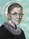 """Ruth Bader Ginsburg"" by Lena Rushing – 16""x19"" Acrylic and Crackle-Paste on Canvas-Board, $400"