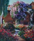 """Flowers, Capistrano Mission"" by Arthur Grover Rider"