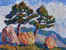 """Pines and Rocks"" by Birger Sandzén"