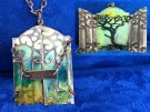 """Woodland Sunrise"" by Nancy Sadja - Uniquely embossed, hand painted and layered necklace, $75"