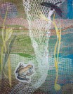 """Waterlife Web"" by Barbara Rosenthal - Collage Monoprint"